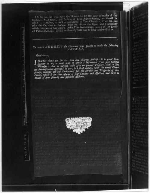 The humble address of the Council, in Assembly, to the Honourable William Gooch, Esq; His Majesty's Lieutenant-Governor and Commander in chief, of the Colony and Dominion of Virginia [Williamsburg, 1736] [Negative Photostat.].