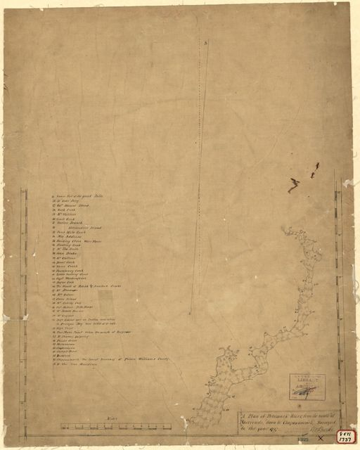 A plan of Patomack River, from the mouth of Sherrendo, down to Chapawamsick /