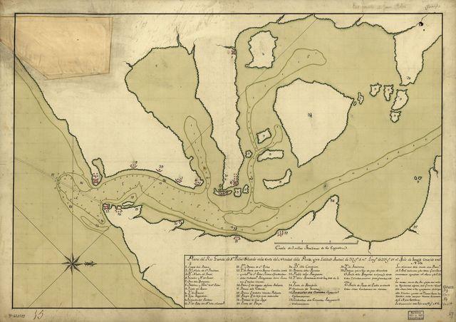 Plano del Rio Grande de Sn. Pedro situado en la costa del nordest de la punta y por latitud austral de 32 gs. 4 ms., longd. de 325 gs. 45 ms., mero. de Tenerife corre'ido en el.