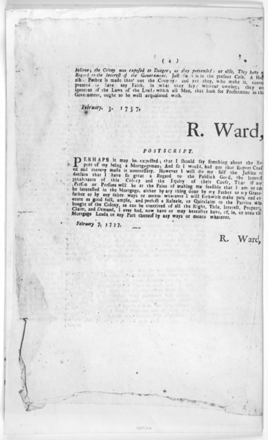The remonstrance of Richard Ward Esq; concerning the mortgage. [Newport: Printed by Ann Franklin, 1737] [Positive Photostat].