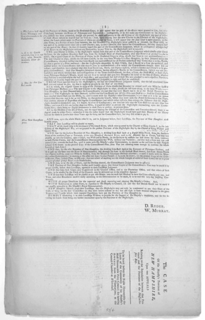 The House of representatives of his Majestys Province of New-Hampshire by John Thomlinson, Esq; their agent, for and on behalf of His Majesty and of the said province. Appellants. The province of the Massachusetts Bay Respondent and the Governor