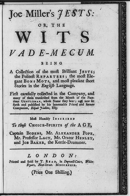 [Title page for Joe Millers Jests, or, the wits vade-mecum ...]