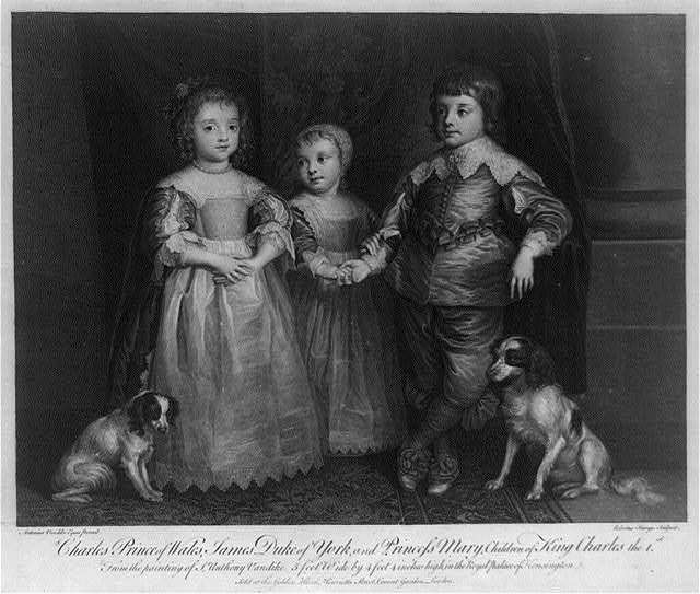 Full-length standing portraits of Charles, Prince of Wales, the future Charles II of England, James, Duke of York, the future James II of England, and Princess Mary, children of King Charles I of England, with their two dogs