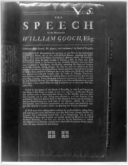 The speech of the Honourable William Gooch, Esq; [At the opening of the session Aug. 21, 1740] [Williamsburg, 1740] [Negative Photostat.].