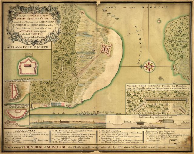 A plan of Fort St. Louis, St. Joseph, St. Jago & of St. Philip scituated at ye entrance of Cartagena Harbour or Boca-Chica with ye parts adjacent and also of the attacks made against the said forts /