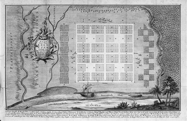 [Plan of New Ebenezer, Ga., 1742, which was settled in 1736 by the persecuted Salzburgers of Bavaria at invitation of trustees of the Georgia colony; text in German]