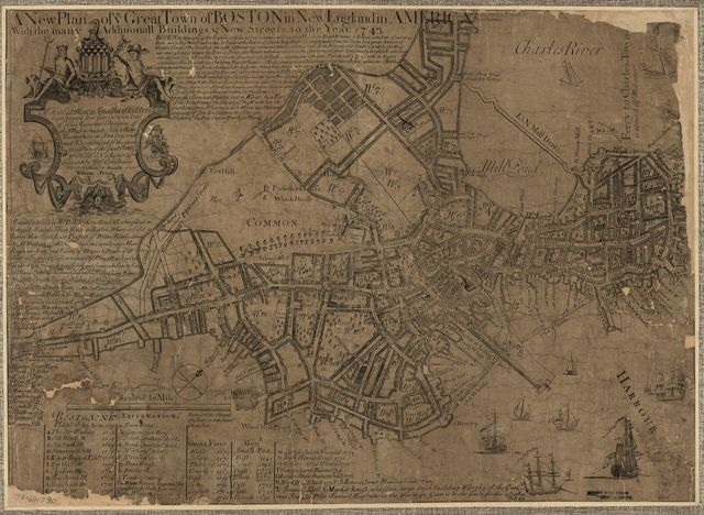A new plan of ye great town of Boston in New England in America with the many additionall buildings & new streets to the year 1743.