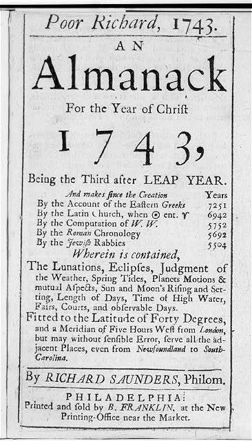 [Title page for Poor Richard, 1743, an Almanack ...]