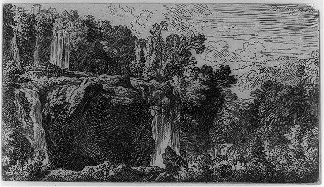 [Landscape with rough terrain and waterfall]