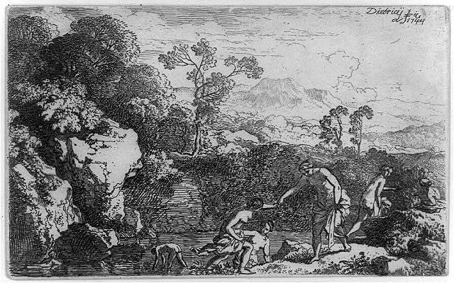 [Landscape, with six women bathing]