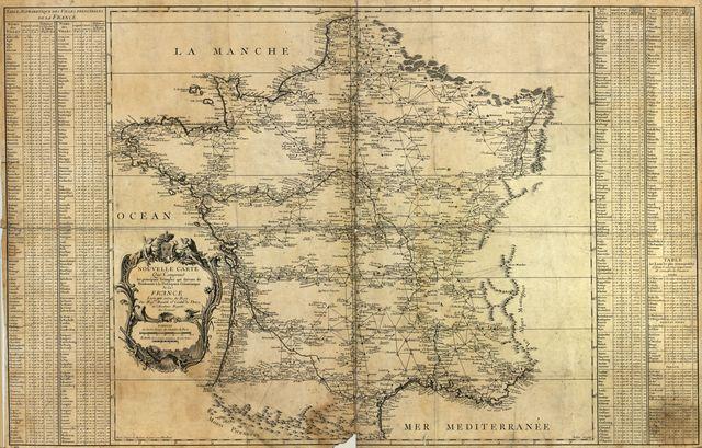 Nouvelle carte qui comprend les principaux triangles qui servent de fondement à la description géométrique de la France /
