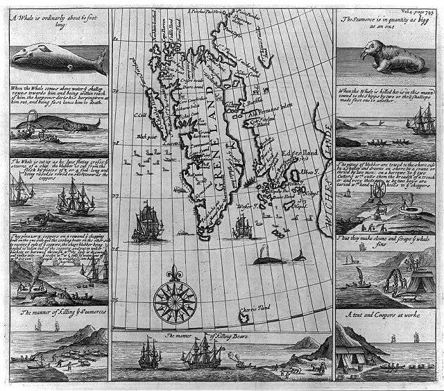 [Series of ten small engravings of whale, walrus, and bear hunting, with map of Greenland]