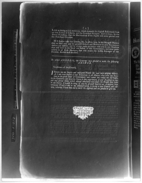 The humble address of the Council, in Assembly, to the Honourable William Gooch Esq; His Majesty's Lieutenant-Governor, and Commander in chief, of the Colony and Dominion of Virginia. [Williamsburg: Printed by William Parks, 1744] [Negative Phot