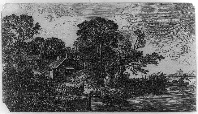 [Two thatched cottages on the edge of a river]