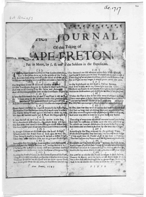 A brief journal of the taking of Cape-Breton, put in metre, by L. G. one of the soldiers of the expedition. Anno Domini, 1745.