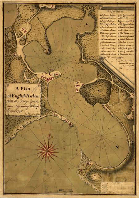 A plan of English Harbour; with the King's yard and carreening wharfe, 15th. Nov. 1745.