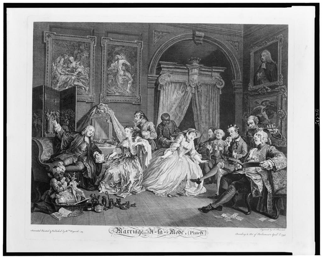 Marriage à la mode--the toilette scene / invented painted & published by Wm. Hogarth ; engraved by S. Ravenet.