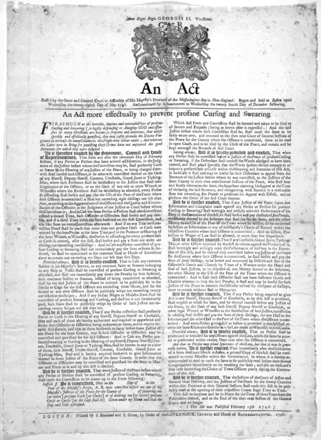 An act passed by the great and General Court or Assembly of His Majesty's Province of the Massachusetts-Bay in New-England: Begun and held at Boston upon Wednesday the twenty-eighth day of May 1746. And continued by adjournments to Wednesday the