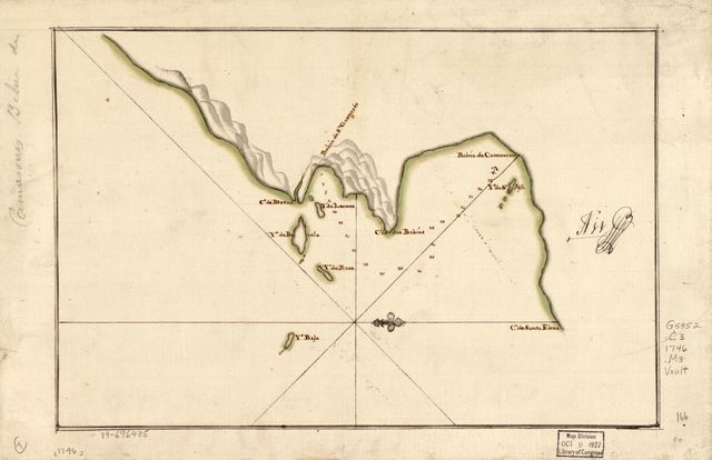 [Map showing Camarones Bay and adjoining capes, Argentina].