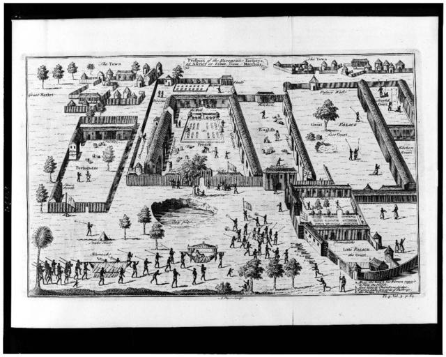 [Slave factories, or compounds, maintained by traders from four European nations on the Gulf of Guinea in what is now Nigeria] / N. Parr, sculp.