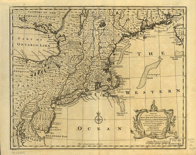 A new and accurate map of New Jersey, Pensilvania, New York and New England, with the adjacent countries. Drawn from surveys, assisted by the most approved modern maps & charts and regulated by astronomical observations.