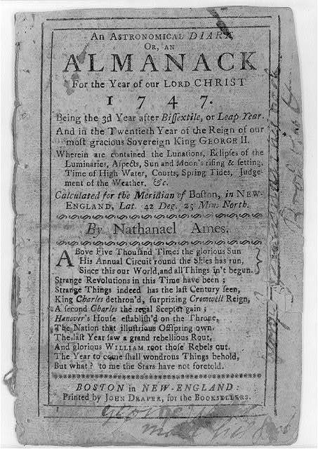 An astronomical diary, or, an Almanack for the year...1747...by Nathaniel Ames