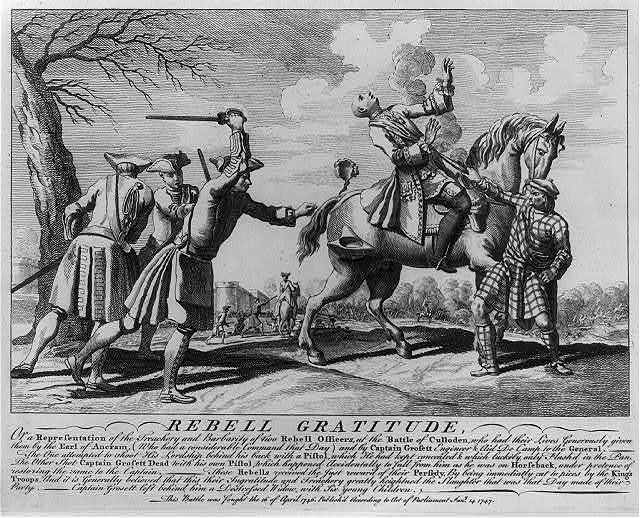 Rebell Gratitude, or a representation of the treachery and barbarity of two rebell officers at the Battle of Culloden...(which) greatly heightened the slaughter that was that day made of their party...this battle was fought 16 April 1746