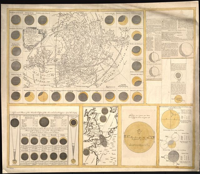 The geography of the great solar eclipse of July 14 MDCCXLVIII : exhibiting an accurate map of all parts of the Earth in which it will be visible, with the North Pole, according to the latest discoveries /