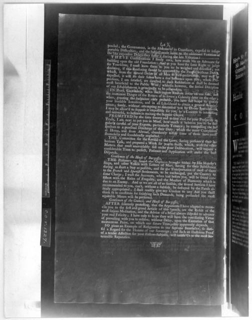 The speech of the Honble Sir William Gooch, Bart. [At the beginning of the session Oct. 27, 1748] [Williamsburg, 1748 [Negative Photostat].