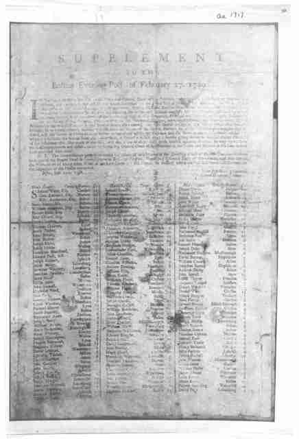 "Supplement to the Boston Evening Post of February 27 1749 [Containing the commissioners' assessment on the ""Partners"" in the Land-Bank or manufactory scheme]. Boston Printed by T. Fleet 1749."