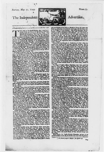 """[Title page of """"The Independent Advertiser, Boston, May 22, 1749""""]"""