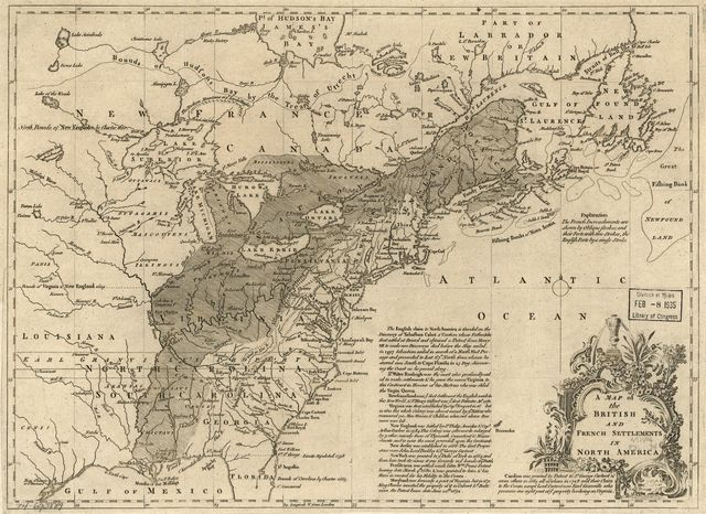 A map of the British and French settlements in North America.