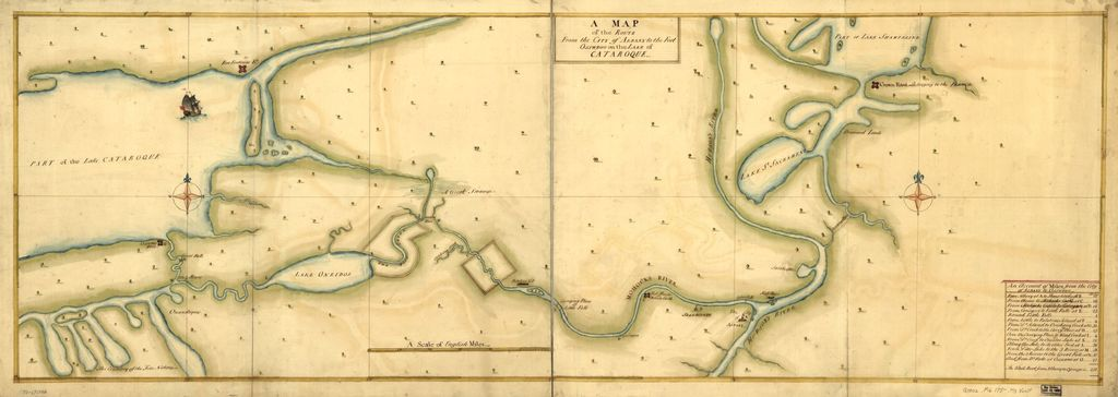 A Map of the route from the city of Albany to the Fort Osswego on the Lake of Cataroque.