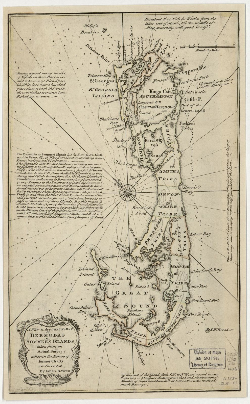 A new & accurate map of Bermudas or Sommer's Islands, taken from an actual survey; wherein the errors of former charts are corrected.