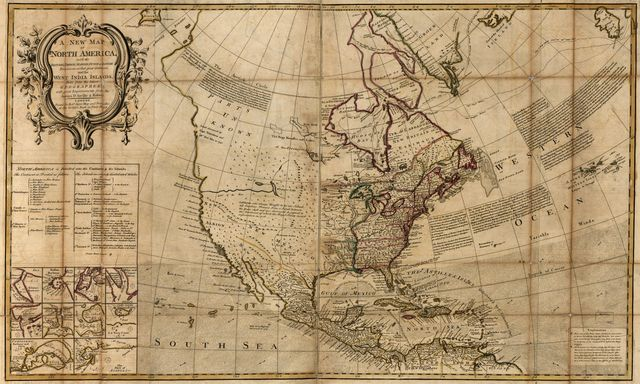 A new map of North America, with the British, French, Spanish, Dutch & Danish dominions on that great continent; and the West India Islands,