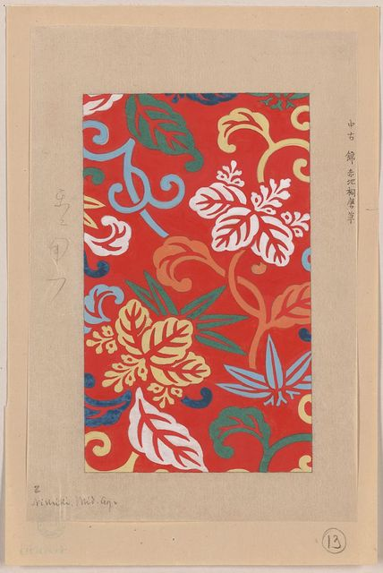 [Nishike brocade with paulownia arabesque, with red background]