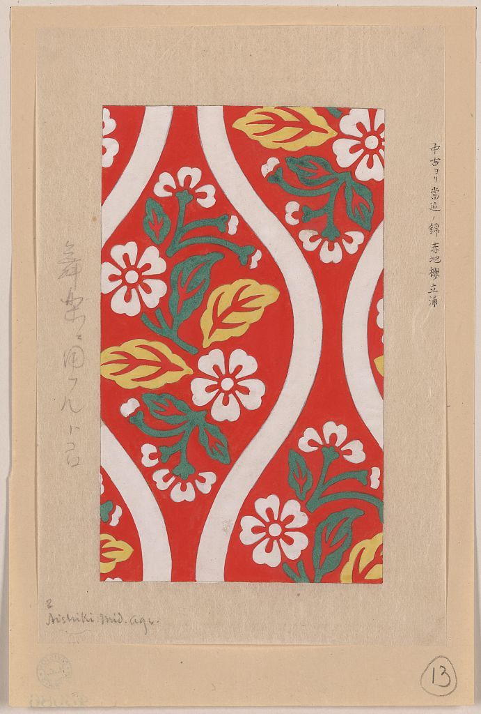 Nishiki Brocade With Cherry Blossoms And Wave Designs On Red