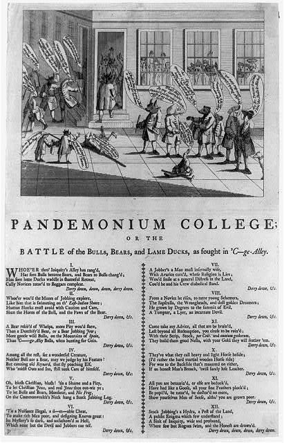 Pandemonium college, or The battle of the bulls, bears, and lame ducks, as fought in 'C--ge- Alley