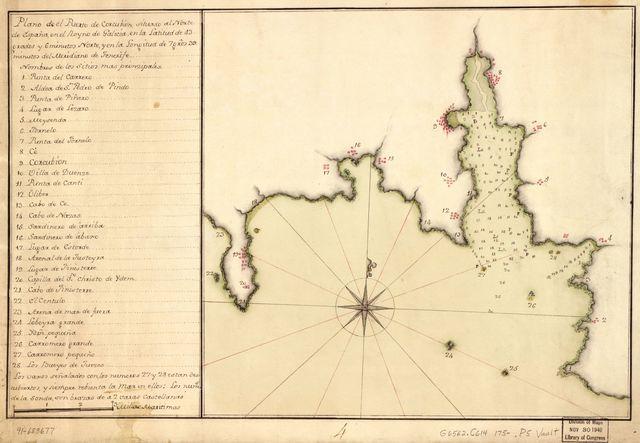 Plano de el Puerto de Corcubión situado al norte de España en el Reyno de Galicia en la latitud de 43 grados y 6 minutos norte y en la longitud de 7 gros. 39 minutos del meridiano de Tenerife.