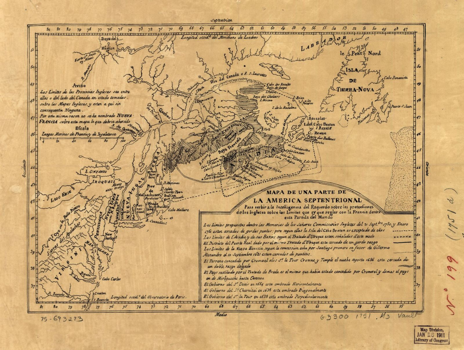 Mapa de una parte de la America Septentrional