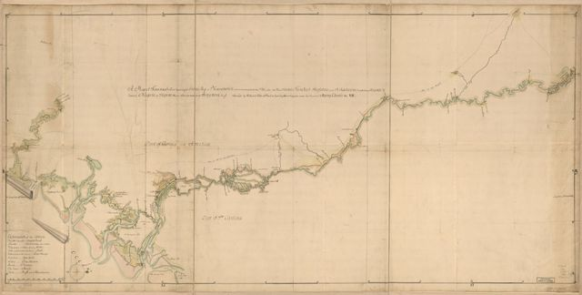A map of Savannah River beginning at Stone-Bluff, or Nexttobethell, which continueth to the sea; also, the four sounds Savañah, [Warsaw], Hossabaw, and St. Katharines, with their islands; likewise Neuport, or Serpent River, from its mouth to Benjehova Bluff.
