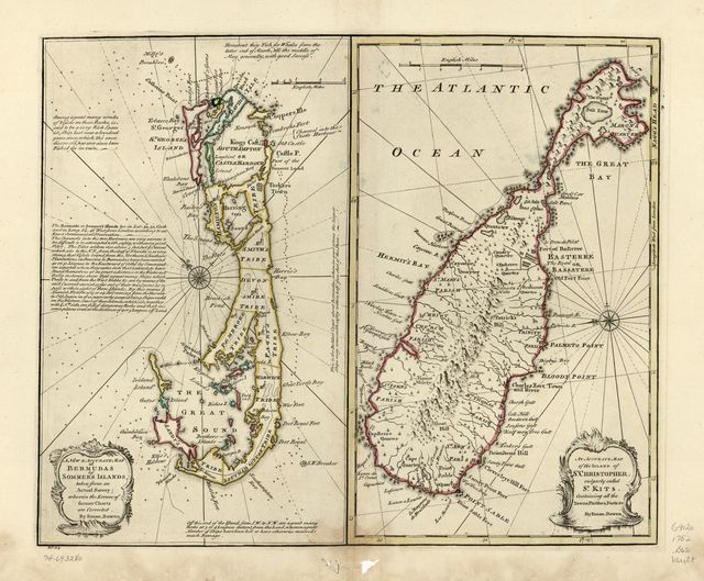 A new & accurate map of Bermudas or Sommer's Islands, taken from an actual survey; wherein the errors of former charts are corrected. An accurate map of the island of St. Christopher, vulgarly called St. Kits, containing all the towns, parishes, forts &c.