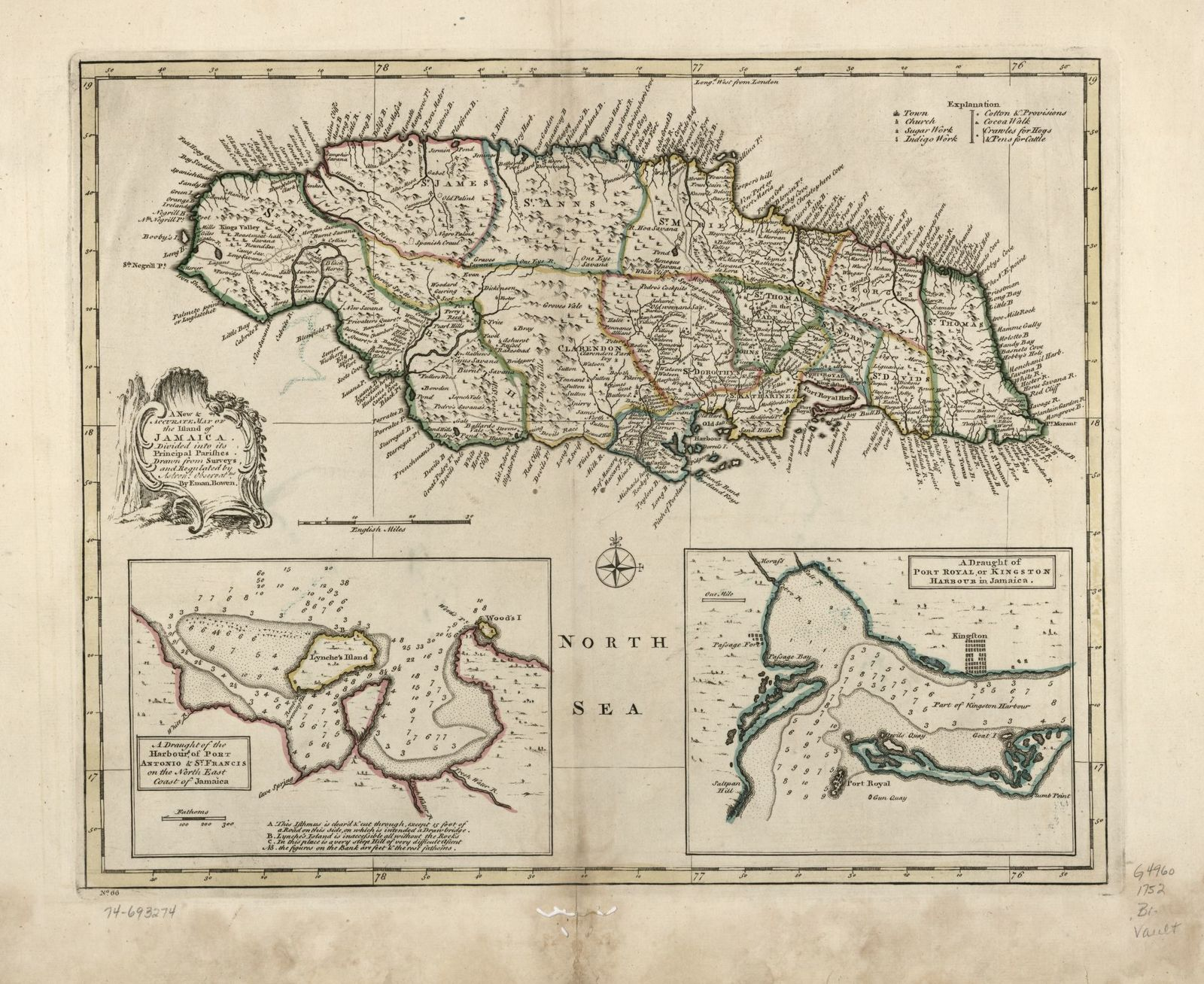 A new & accurate map of the island of Jamaica. Divided into its principal parishes.