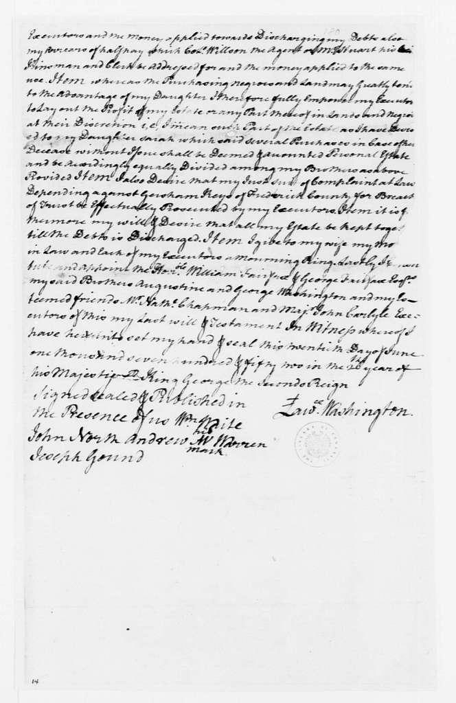 George Washington Papers, Series 4, General Correspondence: Lawrence Washington, June 20, 1752, Will