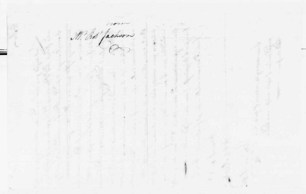 George Washington Papers, Series 4, General Correspondence: Robert Jackson to George Washington, 1752