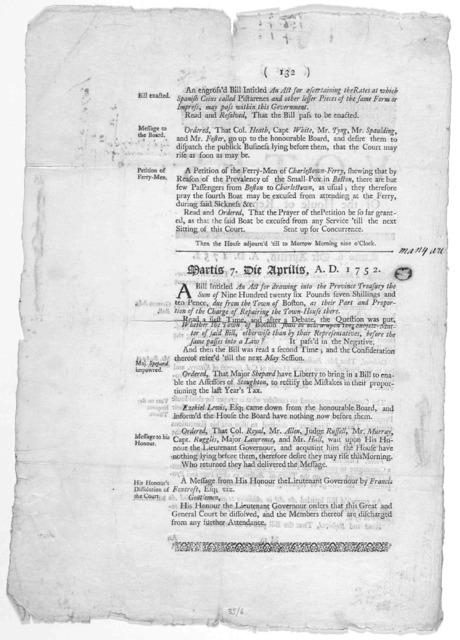 Votes of the House of representatives [6 & 7 April 1752] Boston Printed by Samuel Kneeland. 1752.