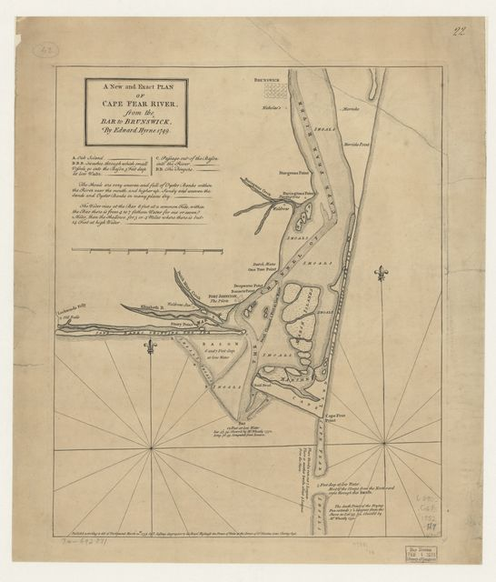 A new and exact plan of Cape Fear River, from the bar to Brunswick,