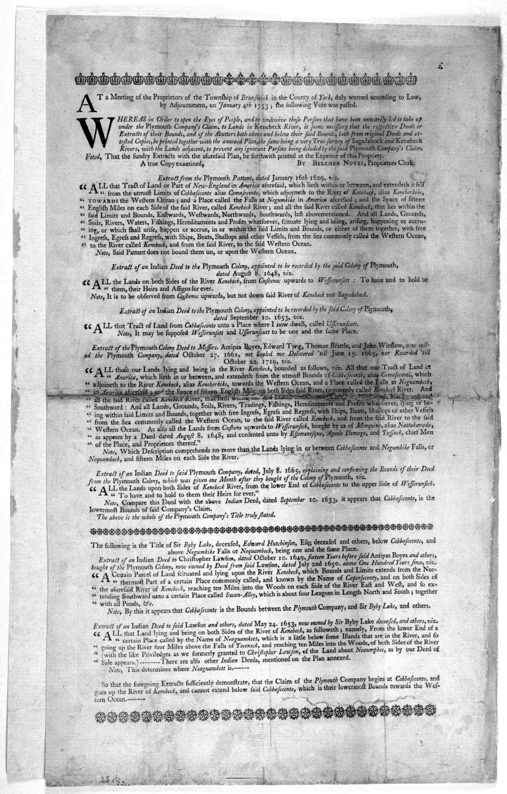 At a meeting of the proprietors of the Township of Brunswick in the County of York, duly warned according to law by adjournment, on January 4th, 1753 the following vote was passed. [regarding Plymouth Company's claims] [1753].