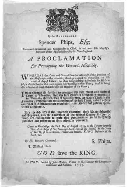By the Honourable Spencer Phips, Esq; Lieutenant-Governour and commander in chief, in and over His Majesty's Province of the Massachusetts-Bay in New-England. A proclamation for proroguing the General Assembly [Calling the Assembly to meet the f