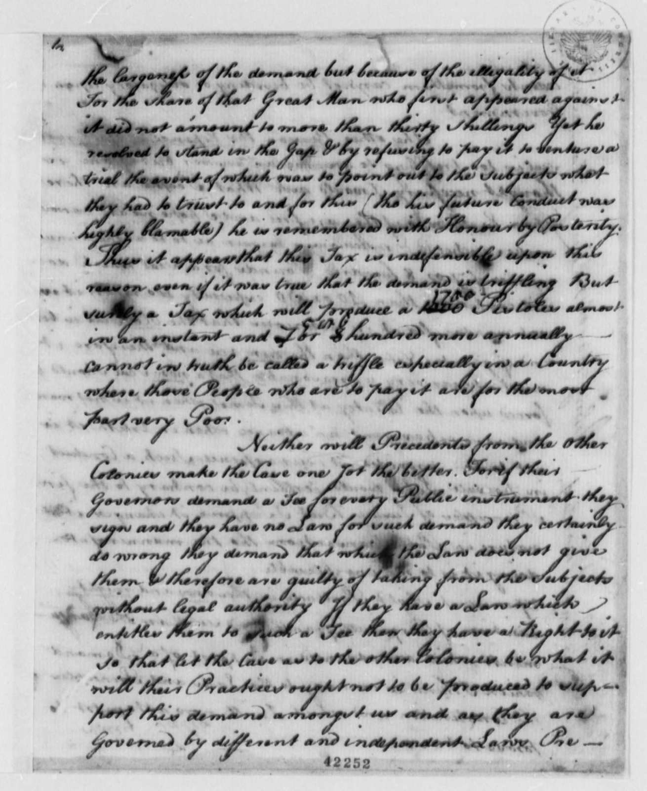 Richard Bland, 1753, Draft Statement on Pistole Fee and Land Patents